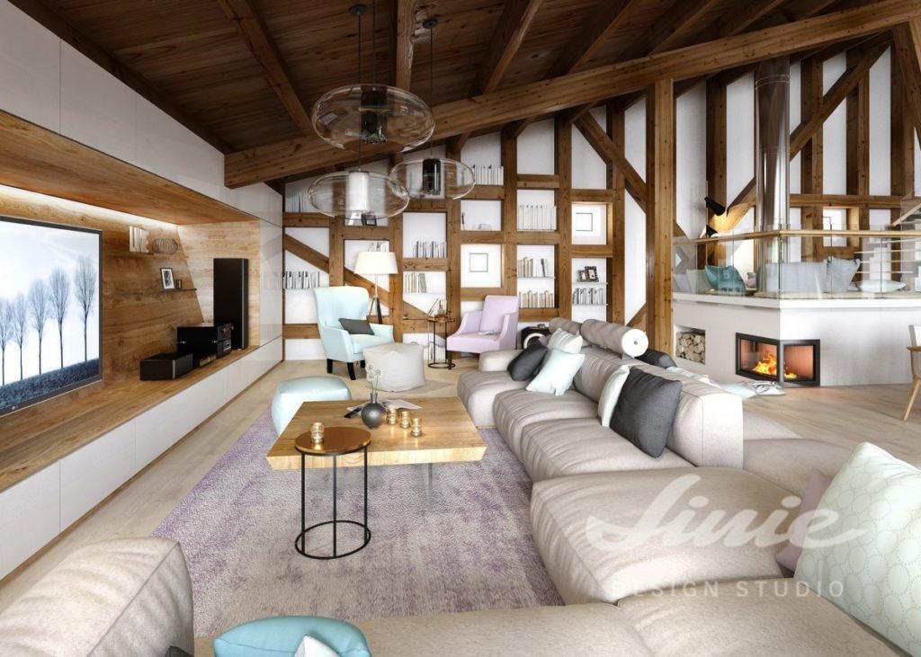 Inspirace pro obývací pokoj s tmavým dřevem