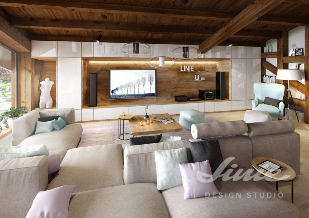 Inspirace pro obývací pokoj s dřevěnými prvky