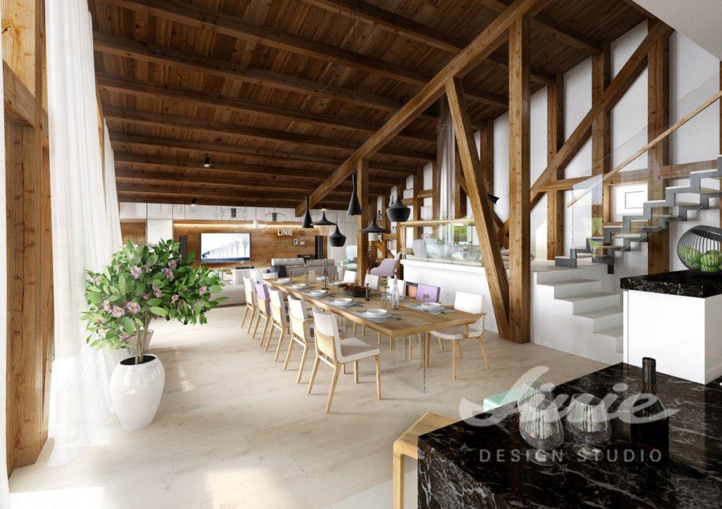 Inspirace pro obývací pokoj spojený s jídelnou