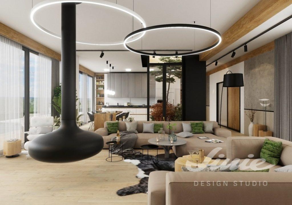 Inspirace pro obývací pokoj se světle hnědými sedacími soupravami se zelenými polštářky