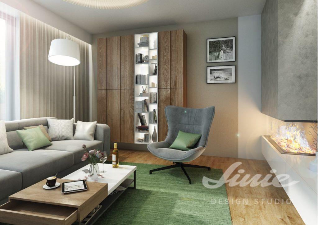 Inspirace pro obývací pokoj s krbem a nábytkem v přírodně zabarveném dřevě