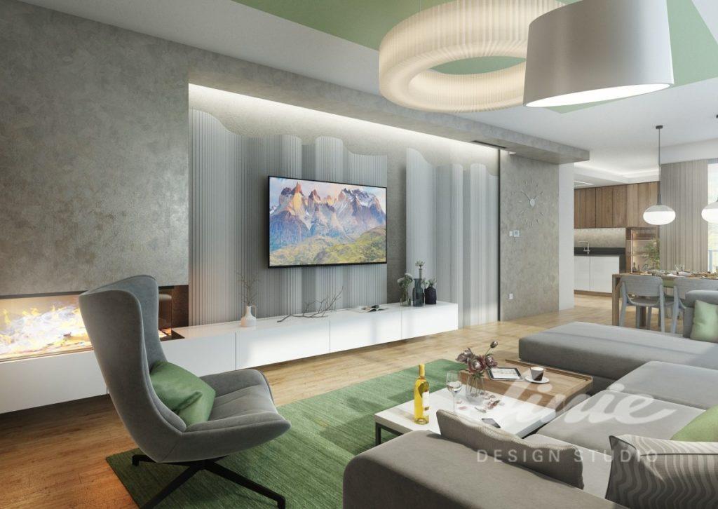Inspirace pro obývací pokoj ve světlých odstínech šedé a zelené barvy