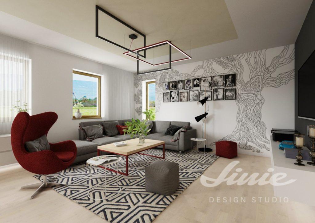 Inspirace pro obývací pokoj s karmínovým křeslem a podnožkou