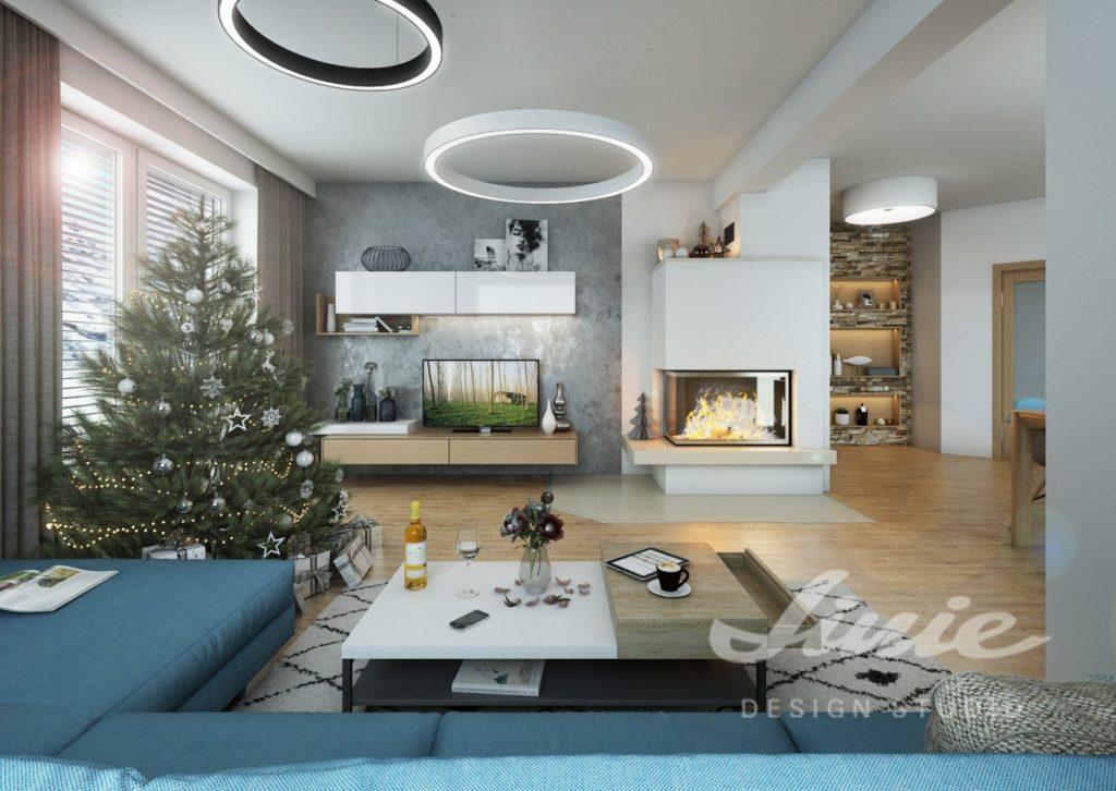 Inspirace pro obývací pokoj s tmavě modrou sedací soupravou