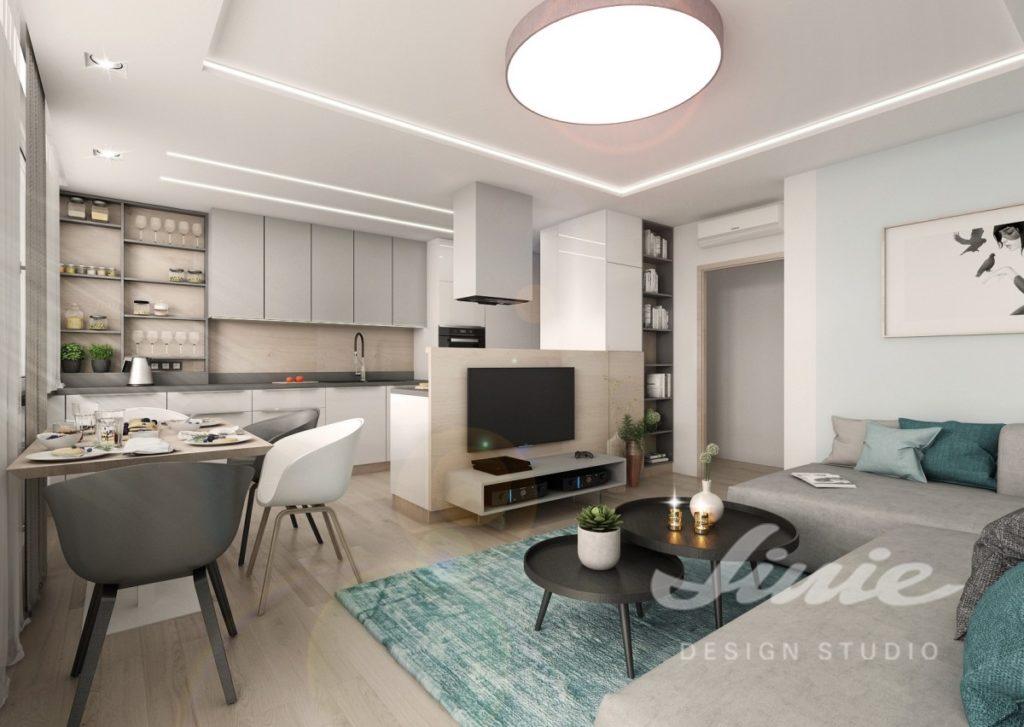 Inspirace pro obývací pokoj s tyrkysově modrým textilem