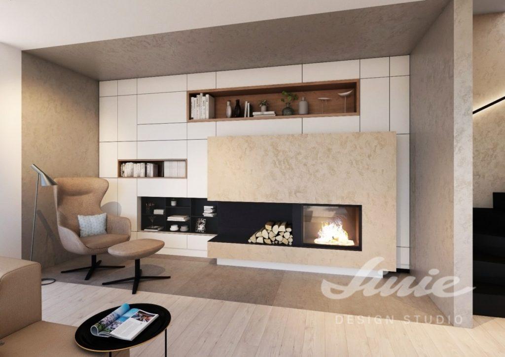 Inspirace pro obývací pokoj ve světle béžové barvě s hnědým křeslem a podnožkou