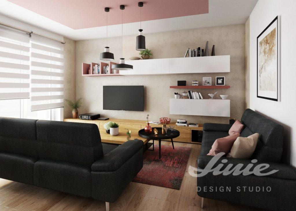 Inspirace pro obývací pokoj s pastelově růžovým textilem
