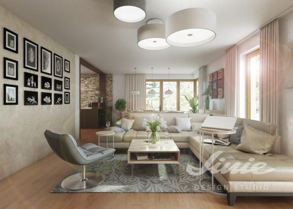 Inspirace pro obývací pokoj s pudrově zabarveným interiérem