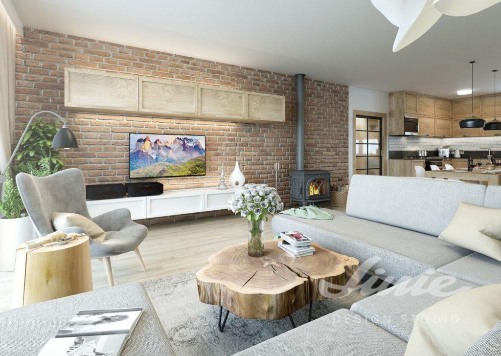 Inspirace pro obývací pokoj s oranžovou cihlovou stěnou