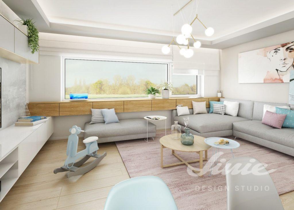 Inspirace pro obývací pokoj s textilními doplňky s jemně modrým a růžovým textilem
