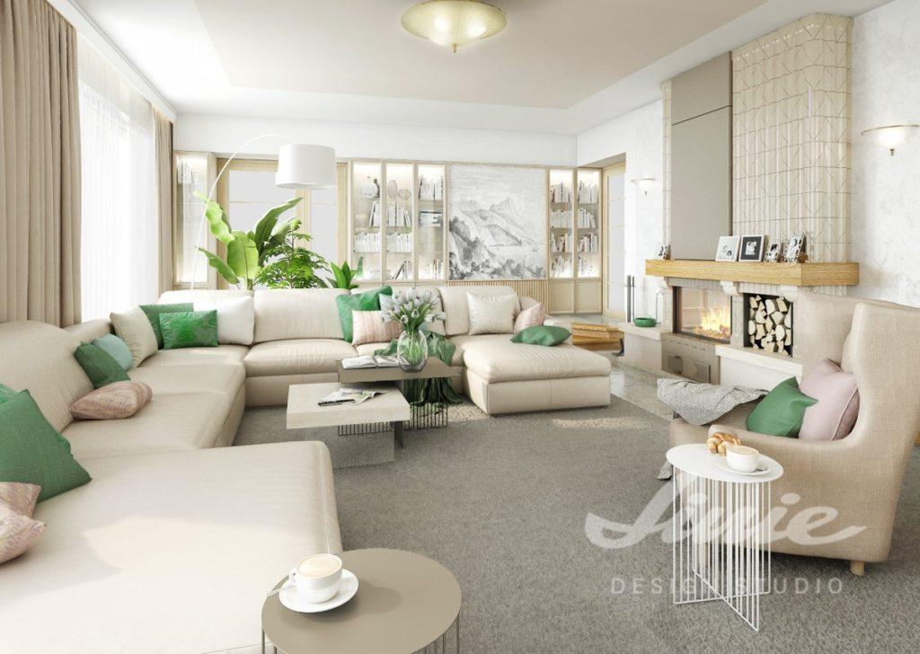 Inspirace pro obývací pokoj s krémovou sedací soupravou a textilními doplňky v zelené barvě