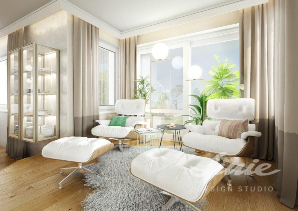 Inspirace pro obývací pokoj s bílými křesly s podnožkami