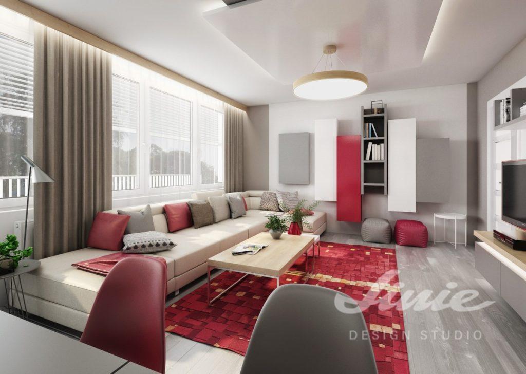 Inspirace pro obývací pokoj s jasně červenými prvky
