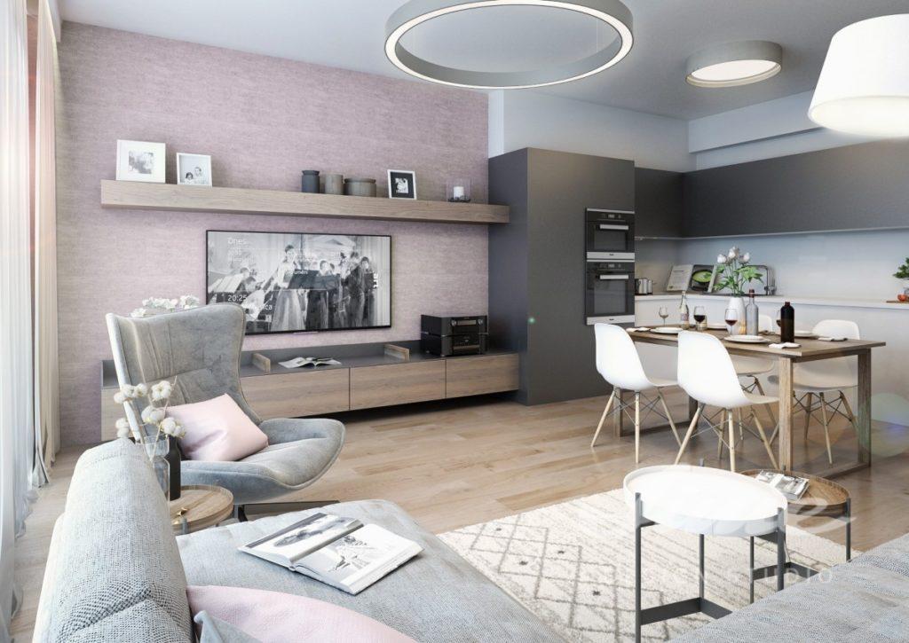 Inspirace pro obývací pokoj se světle růžovou stěnou