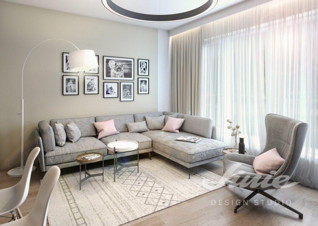 Inspirace pro obývací pokoj s textilními doplňky v pastelově růžové a béžové barvě