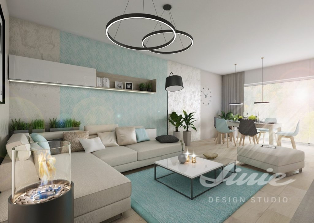 Inspirace pro obývací pokoj s tyrkysovými detaily a krémovou sedací soupravou