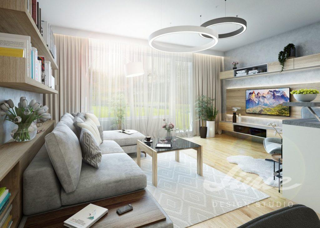 Inspirace pro obývací pokoj s šedou sedací soupravou a televizní stěnou ze světlého dřeva