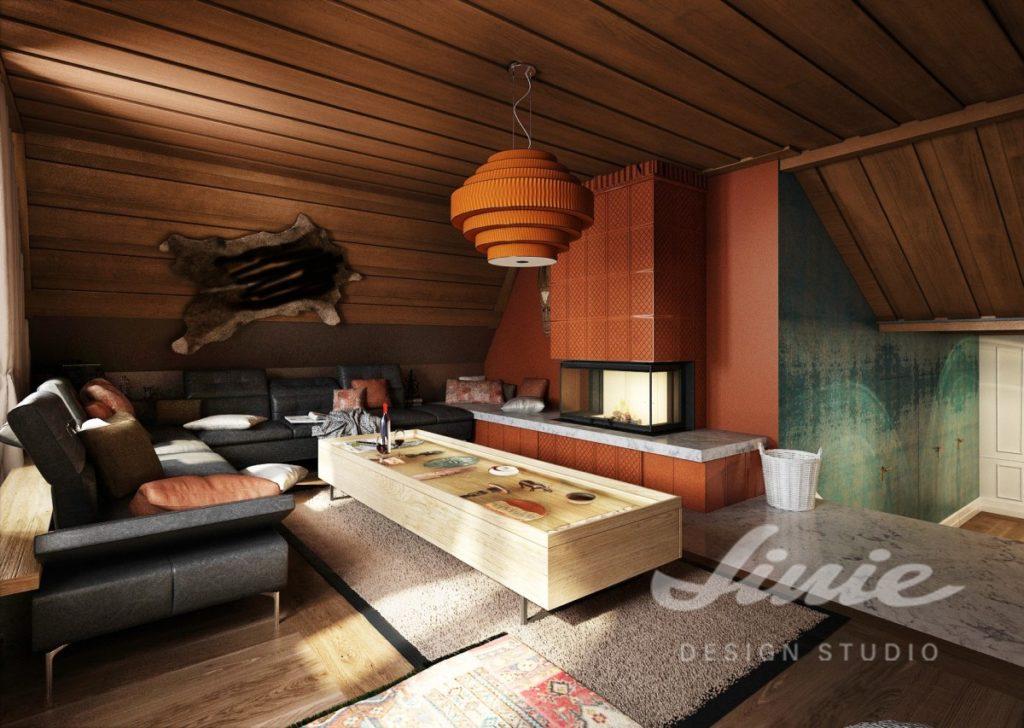 Inspirace pro obývací pokoj s černou sedací soupravou a prvky v teplých barvách