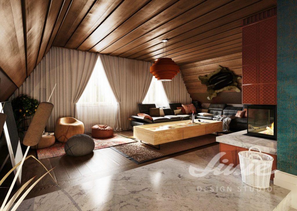 Inspirace pro obývací pokoj s lustrem a doplňky cihlové barvy