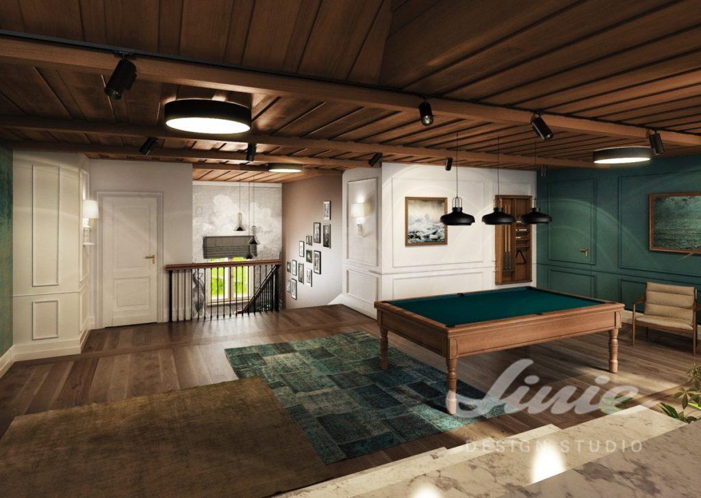Inspirace pro obývací pokoj s tmavě zelenými prvky a stropem z tmavého dřeva