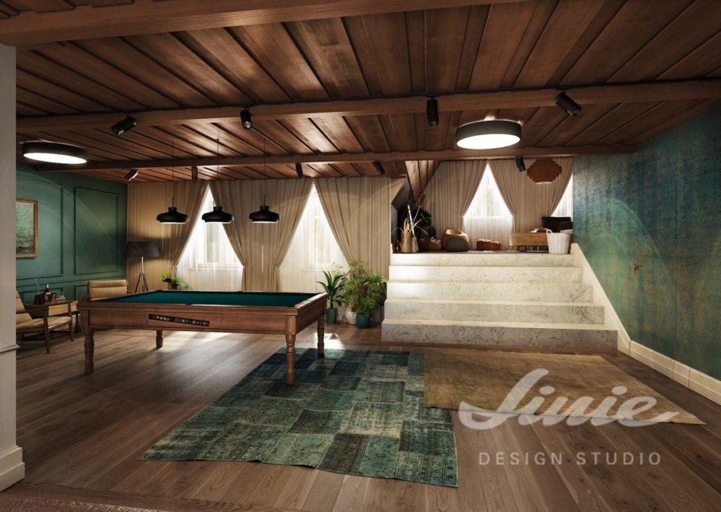 Inspirace pro obývací pokoj s kulečníkovým stolem