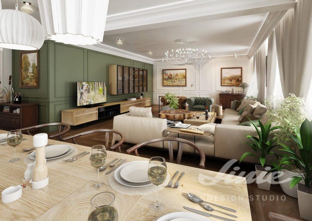 Inspirace pro obývací pokoj v tlumených odstínech