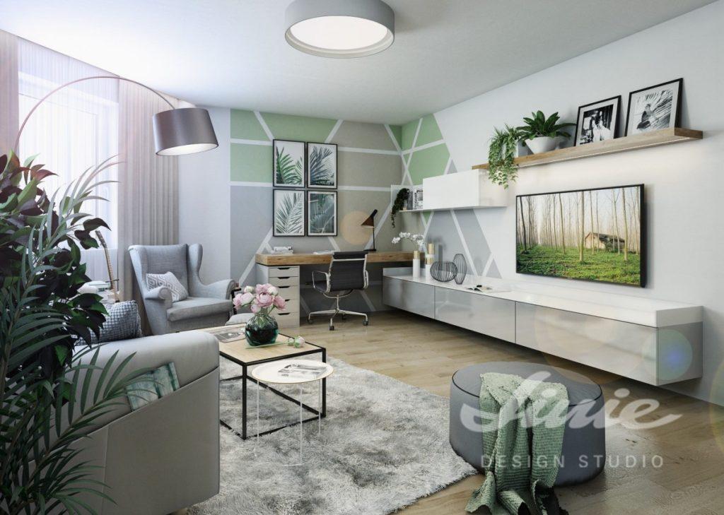 Inspirace pro obývací pokoj s pastelově zelenými doplňky