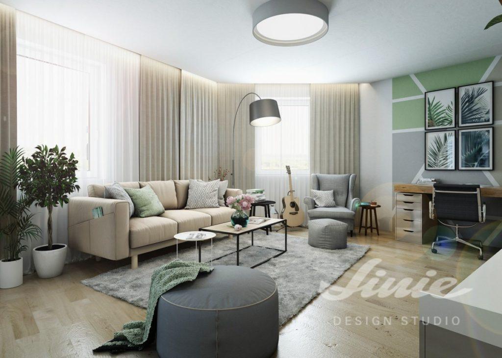 Inspirace pro obývací pokoj s béžovou sedací soupravou a světlými závěsy