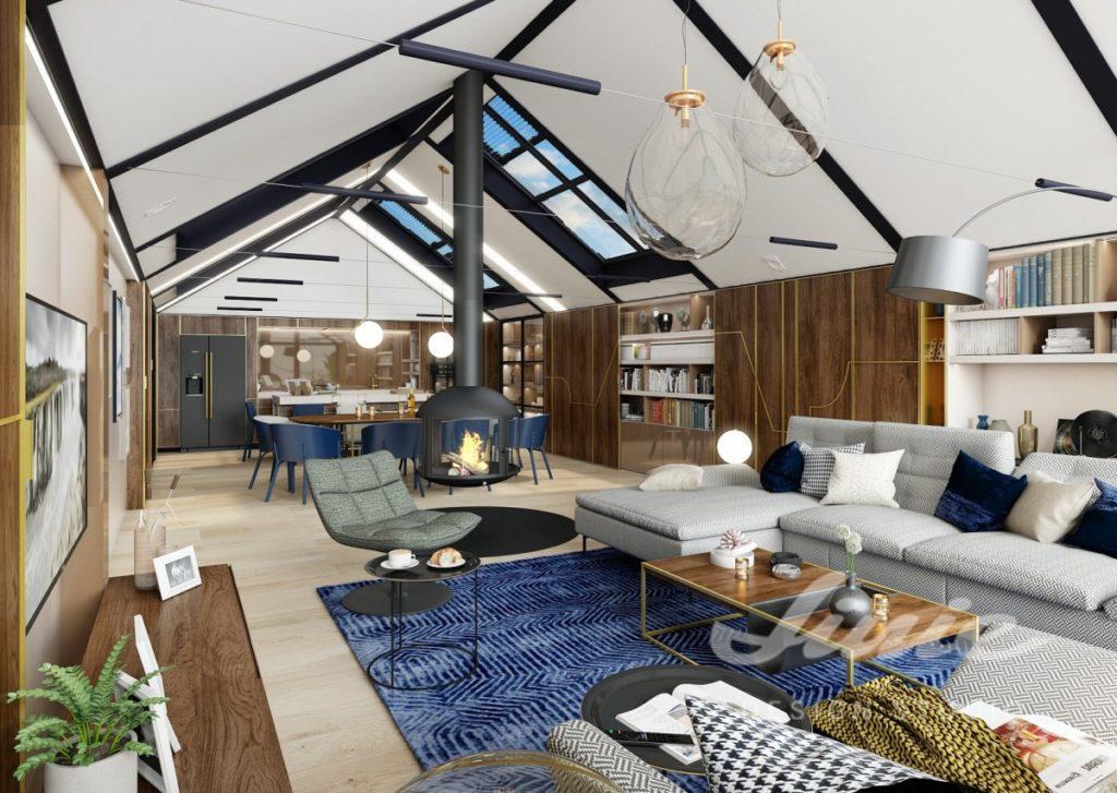 Inspirace pro obývací pokoj s bílým stropem a tmavým dřevem