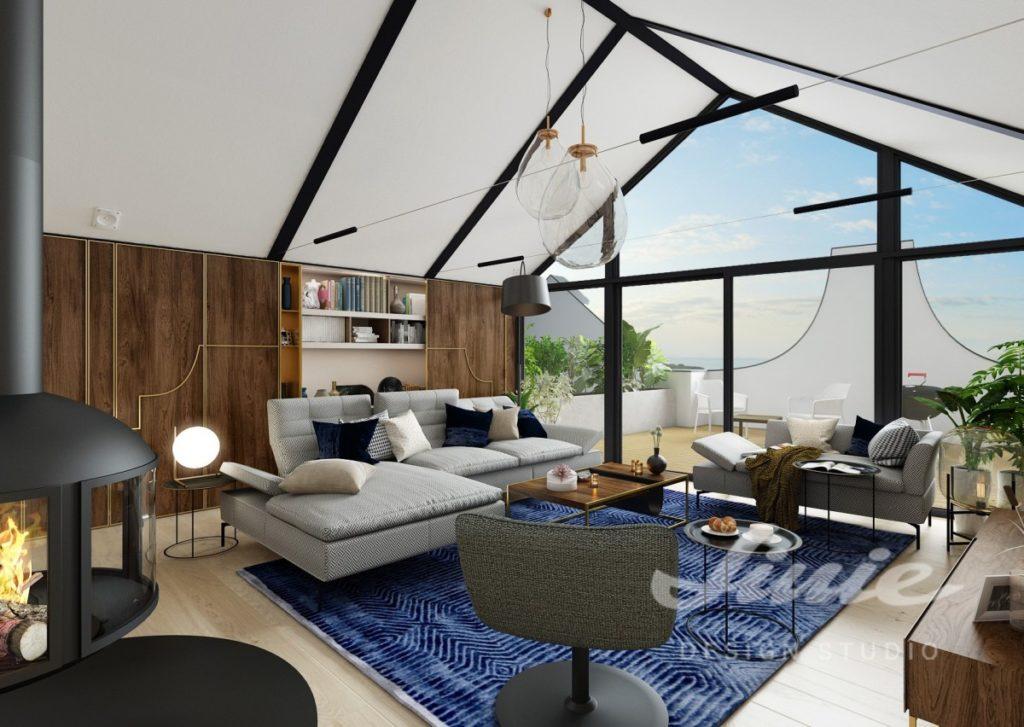 Inspirace pro obývací pokoj s tmavým krbem a modrým kobercem
