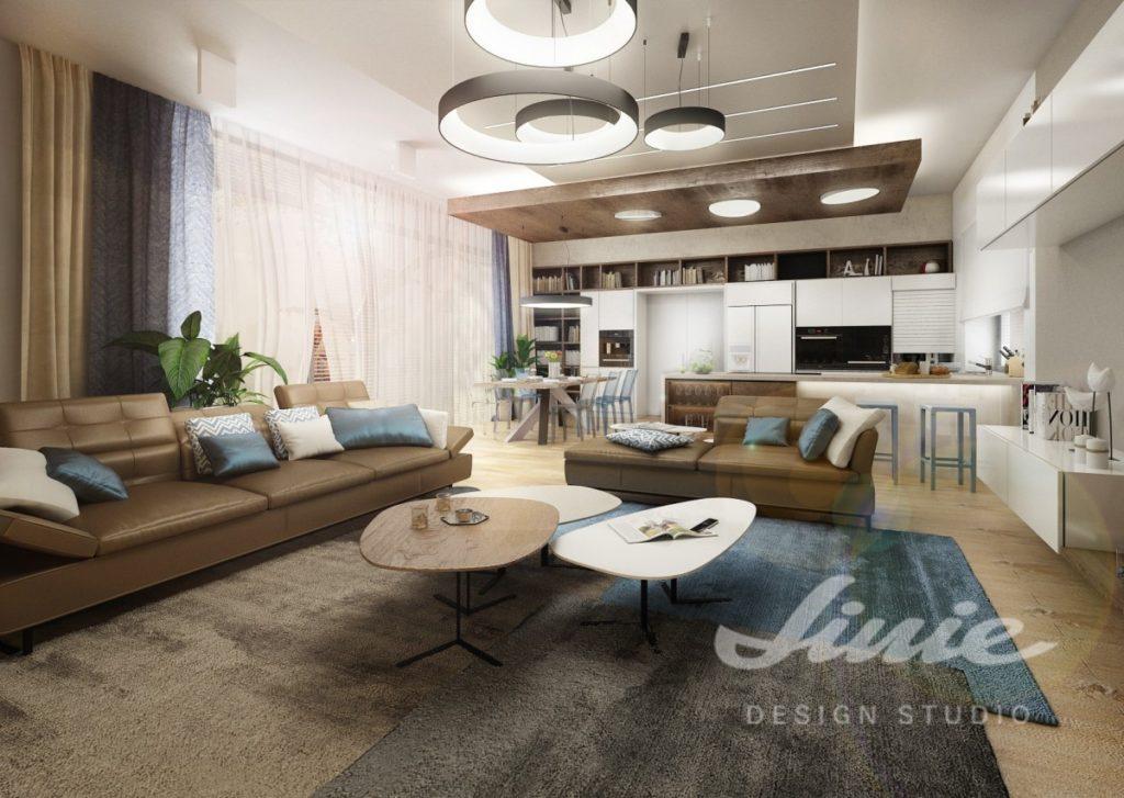 Inspirace pro obývací pokoj s tmavou sedací soupravou s tmavě modrým textilem