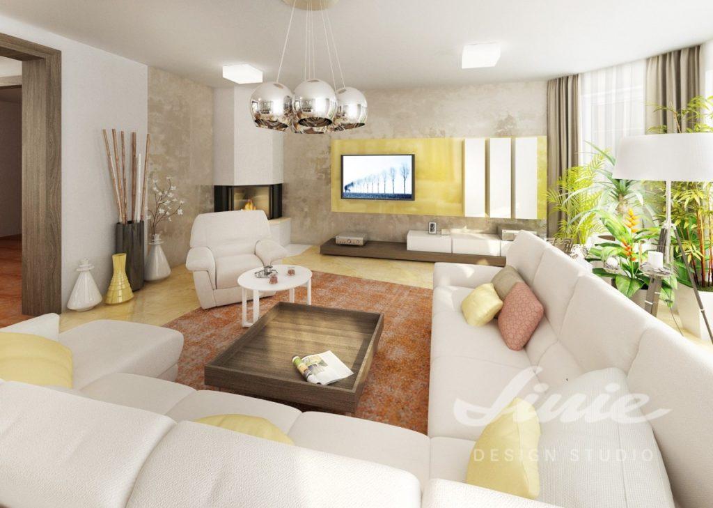 Inspirace pro obývací pokoj s oranžově žíhaným kobercem