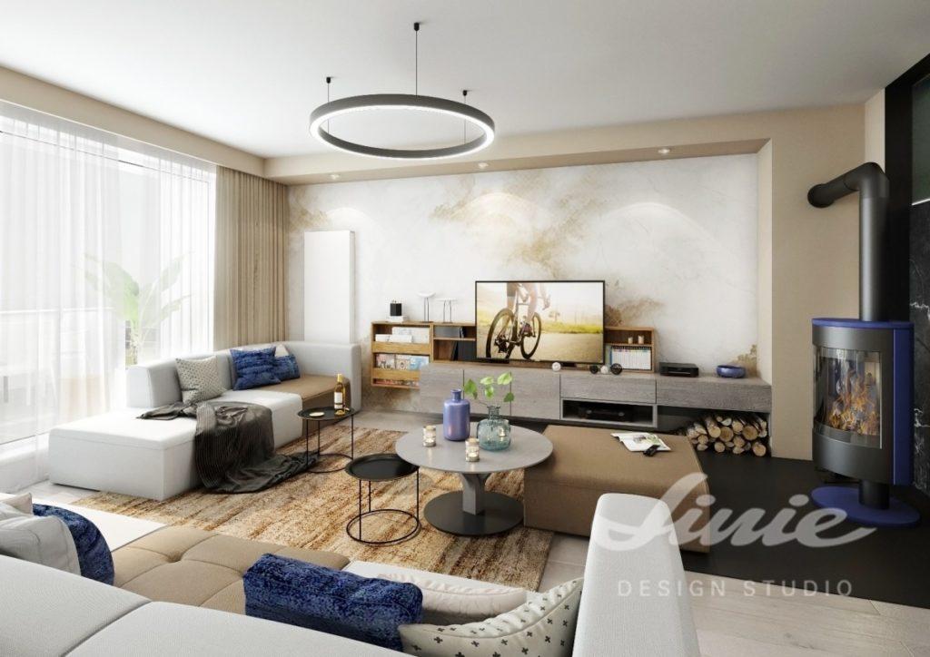 Inspirace pro obývací pokoj se světle hnědými a tmavě modrými prvky