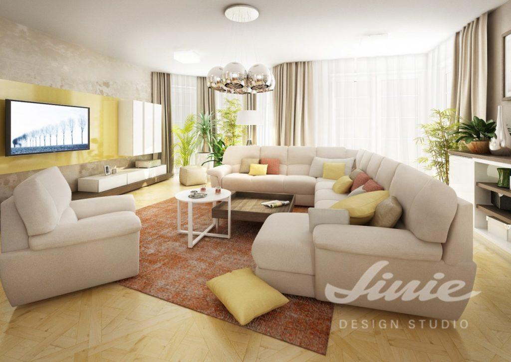 Inspirace pro obývací pokoj s béžovou sedací soupravou a doplňky v teplých barvách