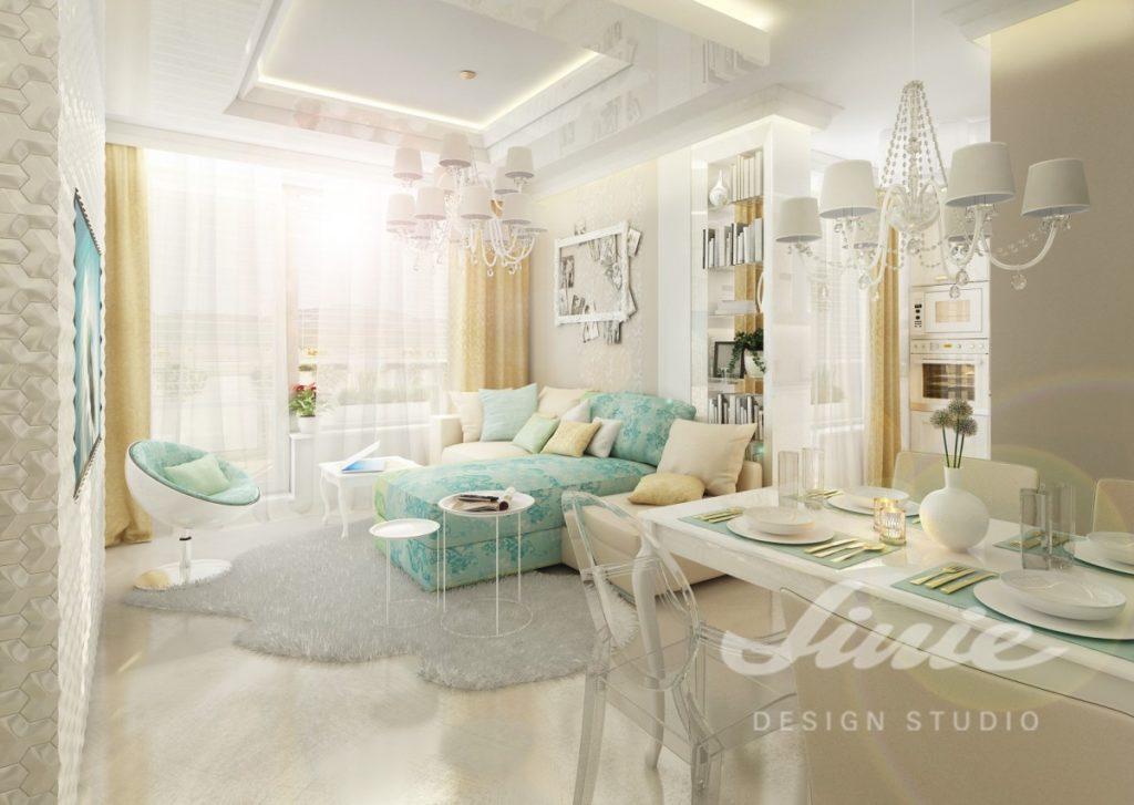 Inspirace pro obývací pokoj s tyrkysovou sedací soupravou