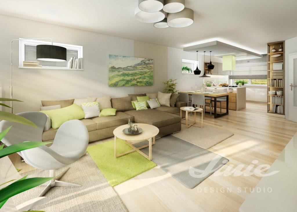 Inspirace pro obývací pokoj s pastelově zelenými textilními doplňky