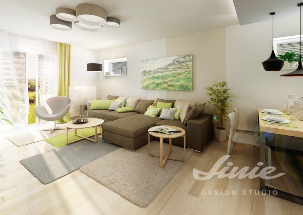 Inspirace pro obývací pokoj s hnědou sedací soupravou a nástěnným obrazem