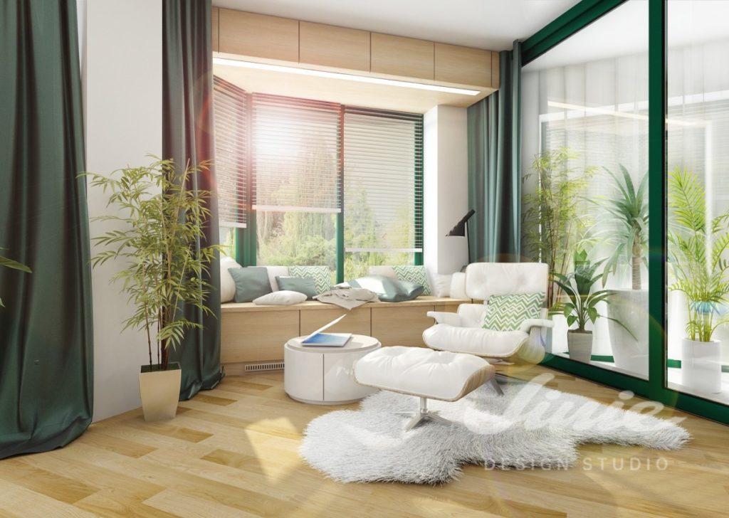 Inspirace pro obývací pokoj s bílým křeslem a podnožkou