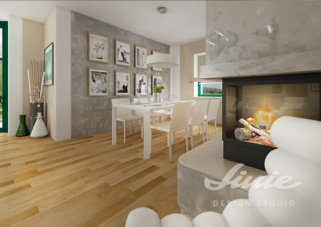 Inspirace pro obývací pokoj s krbem a bílými židlemi