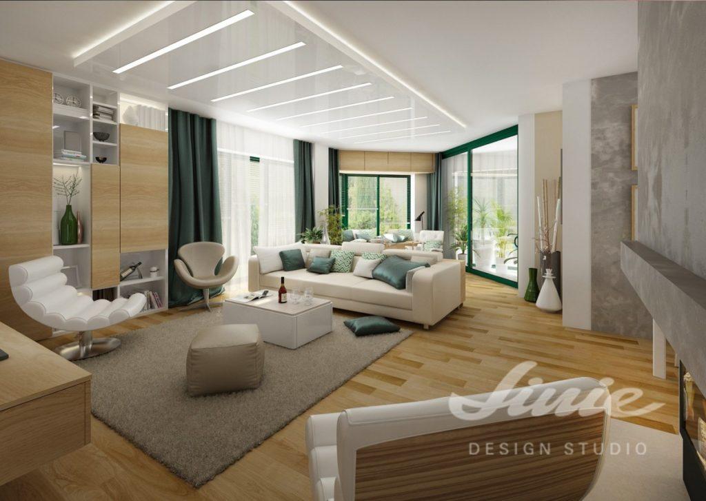Inspirace pro obývací pokoj s textilními doplňky v tmavě zelené barvě