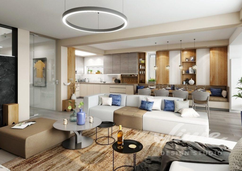 Inspirace pro obývací pokoj s hnědými a modrými detaily