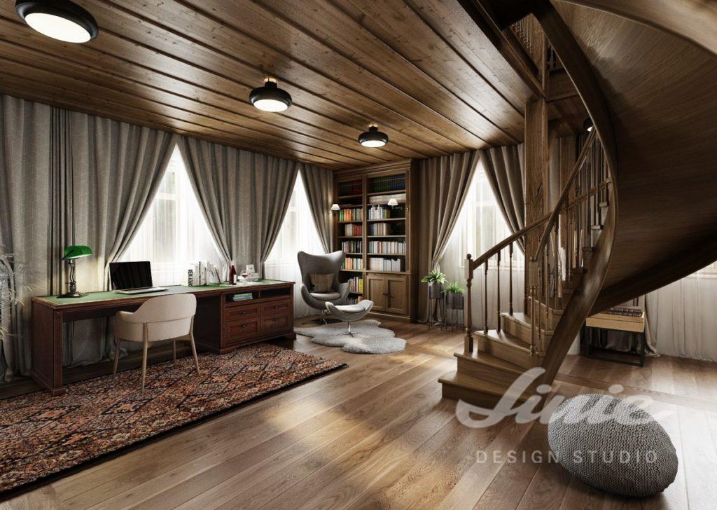 Inspirace pro obývací pokoj se schody z tmavého dřeva