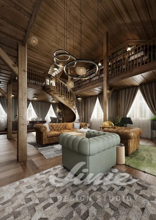Inspirace pro obývací pokoj s koženou pohovkou a křesly