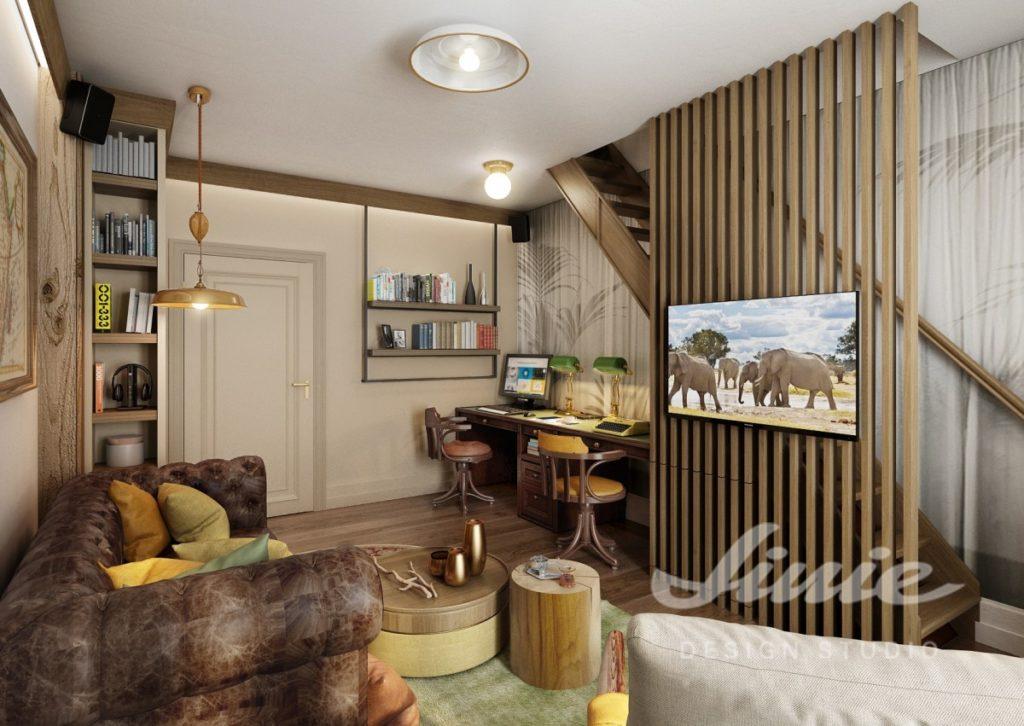 Inspirace pro obývací pokoj s interiérem v přírodních hnědých odstínech