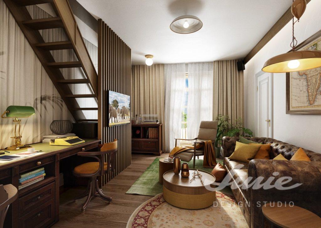 Inspirace pro obývací pokoj s tmavou koženou pohovkou