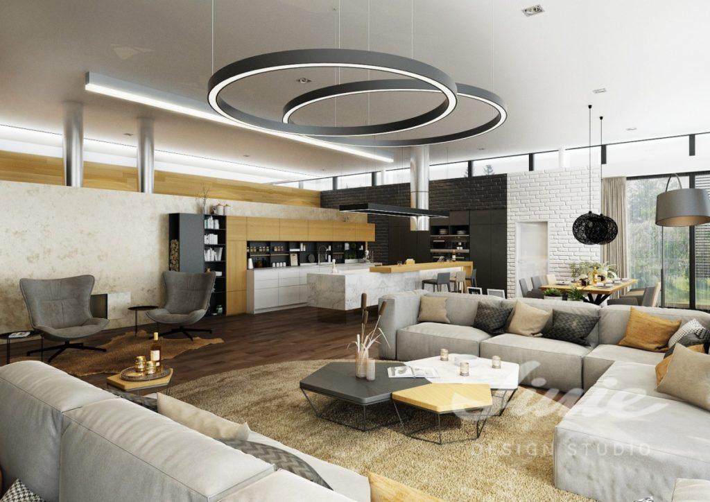 Inspirace pro obývací pokoj s neutrálně tónovaným textilem