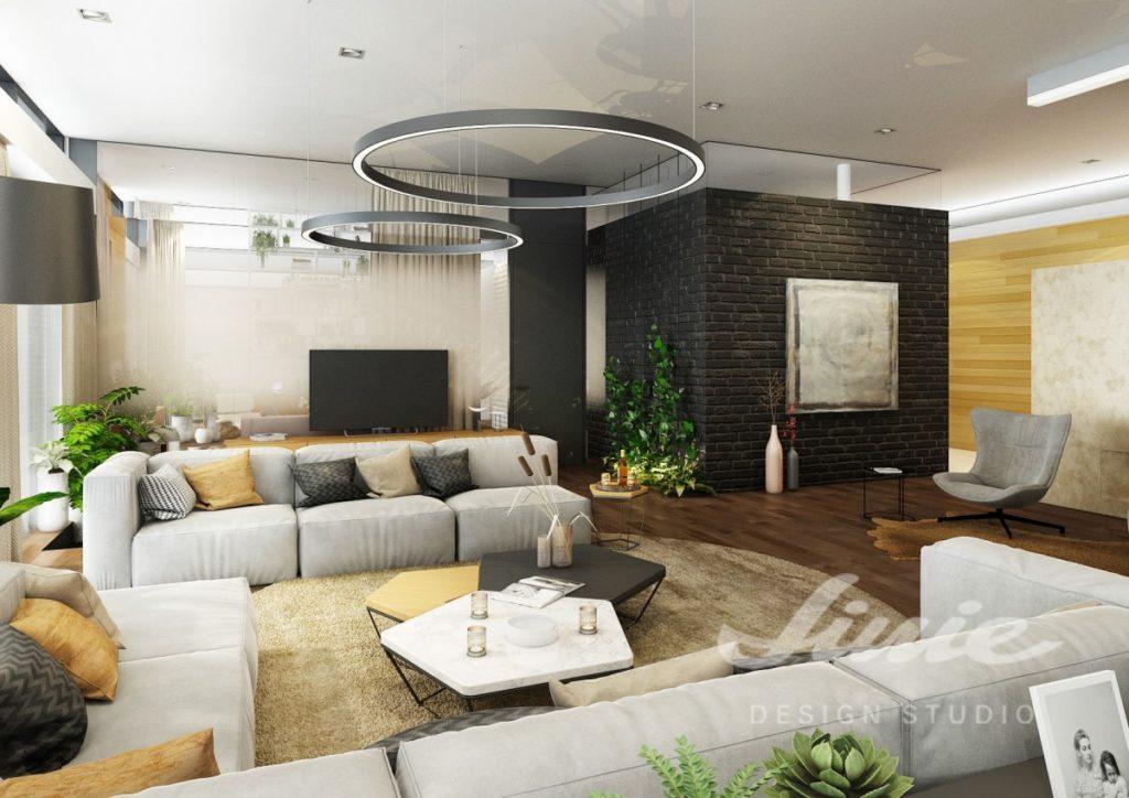 Inspirace pro obývací pokoj s černou cihlovou stěnou