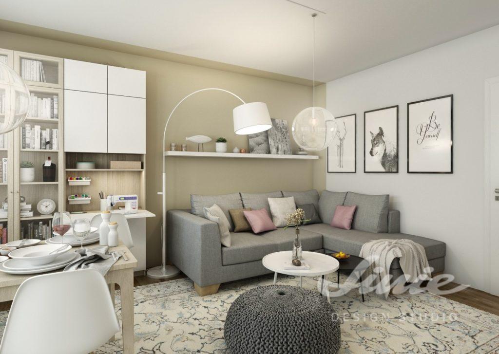 Inspirace pro obývací pokoj se stěnou v béžové barvě a šedým a růžovým textilem