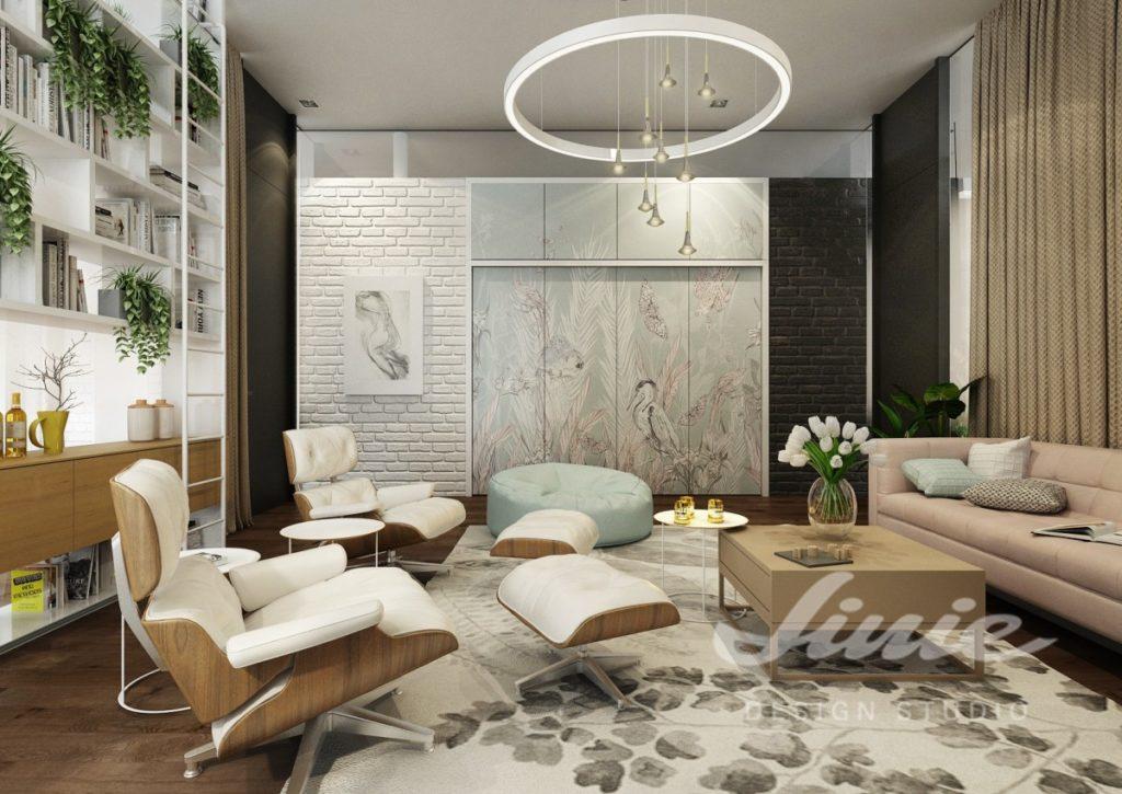 Inspirace pro obývací pokoj s béžovou pohovkou a závěsy