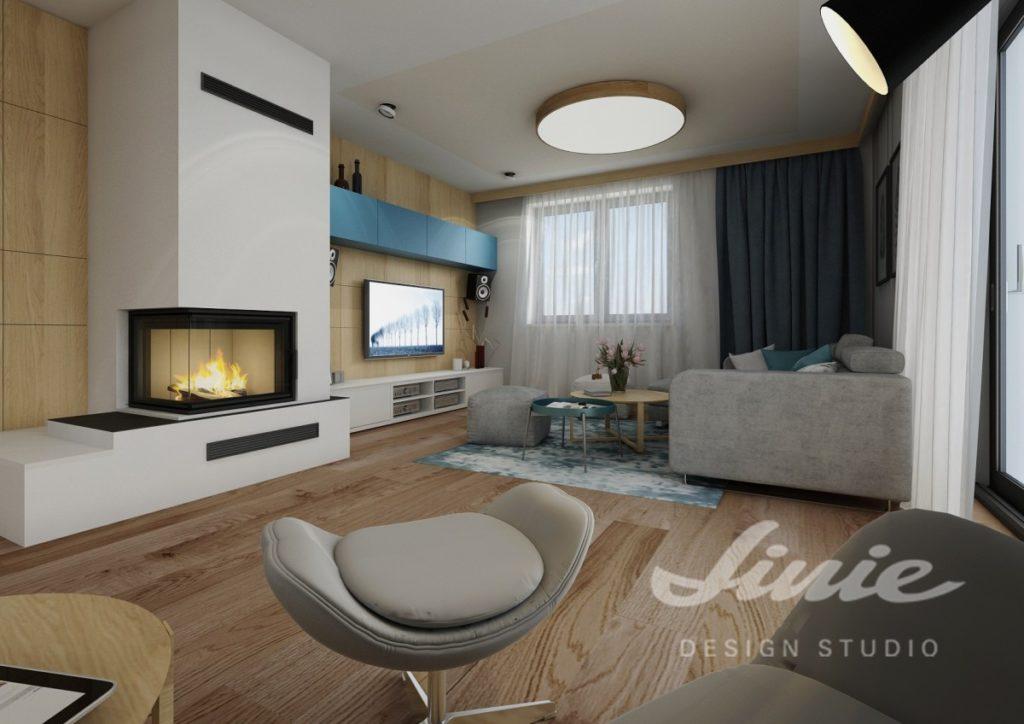 Inspirace pro obývací pokoj s modro bílou televizní stěnou a tmavými závěsy